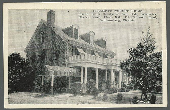 BOZATH'S TOURIST ROOMS, WILLIAMSBURG, VIRGINIA, Postcard