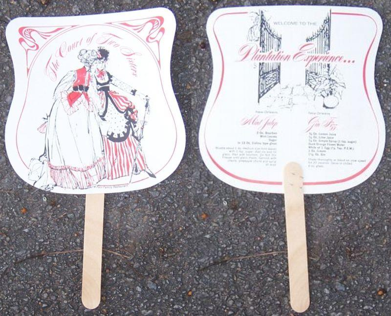 VINTAGE SOUVENIR FAN FROM THE COURT OF TWO SISTERS, NEW ORLEANS, LOUISIANA, WITH DRINK RECIPES, Court Of Two Sisters