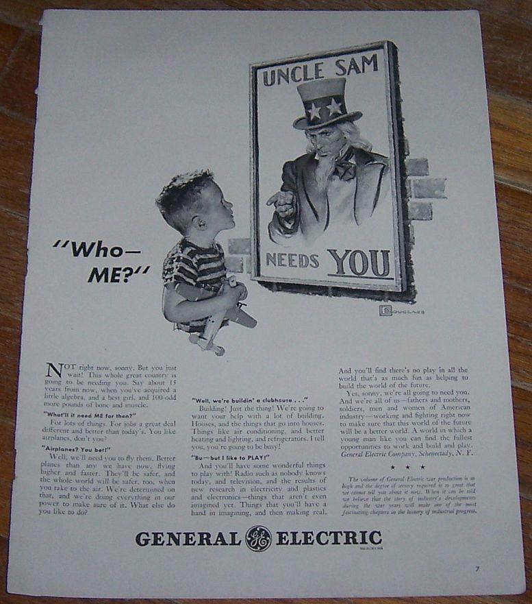 1942 GENERAL ELECTRIC WORLD WAR II LIFE MAGAZINE ADVERTISMENT, Advertisement