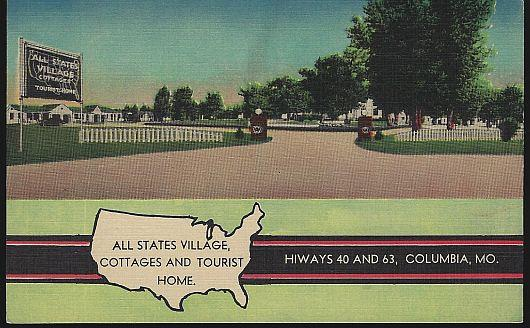 ALL STATES VILLAGE, COTTAGES AND TOURIST HOME, COLUMBIA, MISSOURI, Postcard