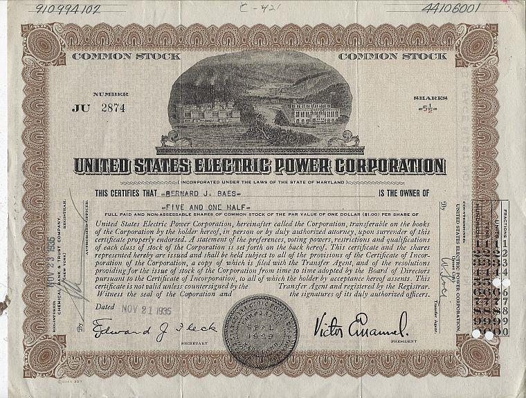 UNITED STATES ELECTRIC POWER CORPORATION STOCK CERTIFICATE, Ephemera
