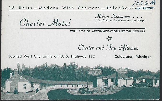 CHESTER MOTEL, COLDWATER, MICHIGAN, Postcard