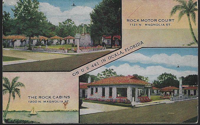 ROCK MOTOR COURT/THE ROCK CABINS, OCALA, FLORIDA, Postcard