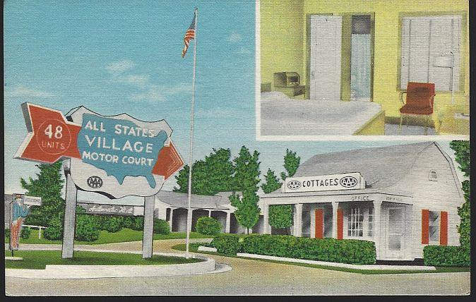 ALL STATES VILLAGE MOTOR COURT, COLUMBIA, MISSOURI, Postcard