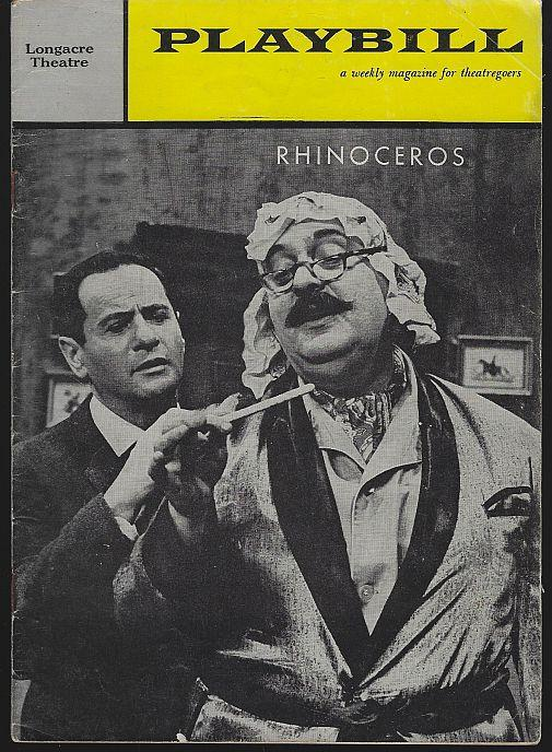 RHINOCEROS, LONGACRE THEATRE, MAY 22, 1961, Playbill