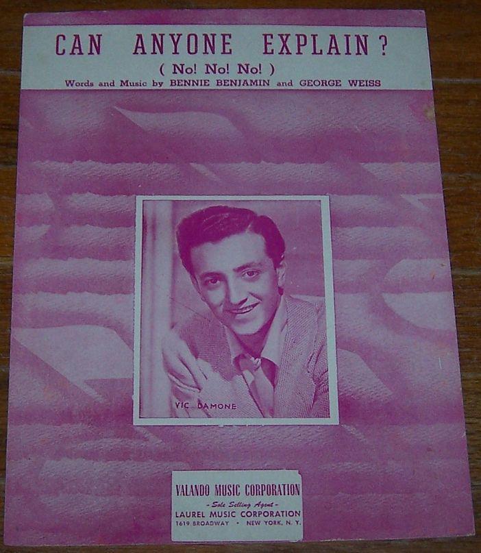 CAN ANYONE EXPLAIN (NO! NO! NO! ), Sheet Music