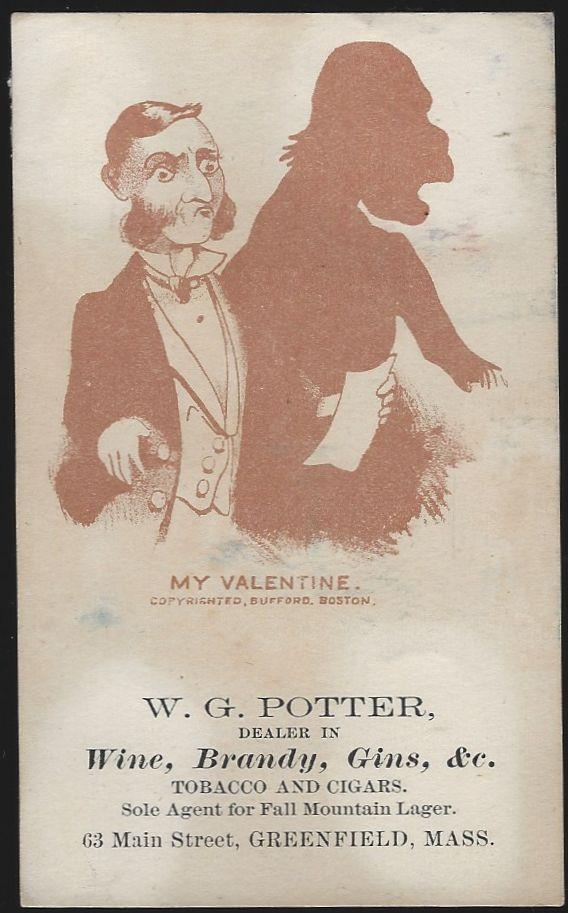 VICTORIAN TRADE CARD FOR W. G. POTTER WITH MAN AND HIS VALENTINE, Advertisement
