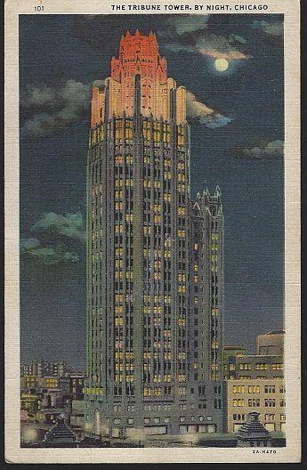 TRIBUNE TOWER BY NIGHT, CHICAGO, ILLINOIS, Postcard