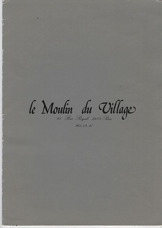 VINTAGE MENU FOR LE MOULIN DU VILLAGE, PARIS, Menu