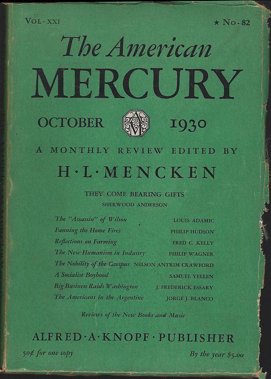 AMERICAN MERCURY MAGAZINE OCTOBER 1930, Mencken, H. L. editor