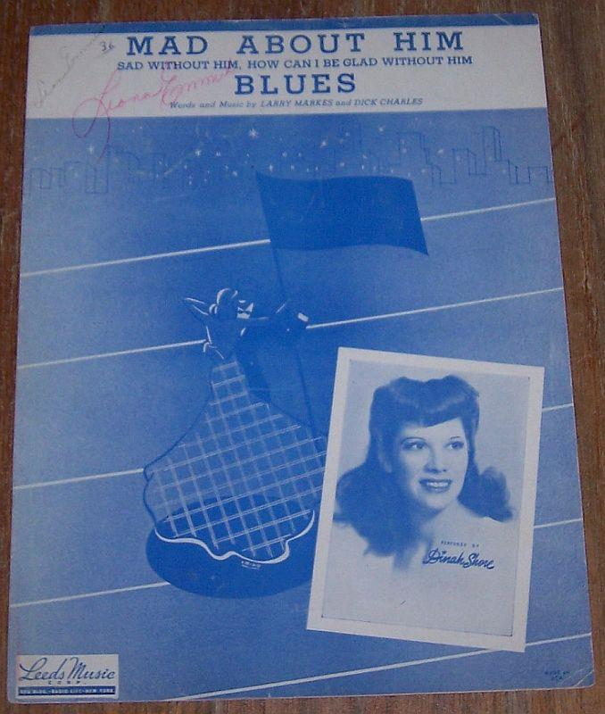 MAD ABOUT HIM BLUES Sad Without Him, How Can I be Glad Without Him, Sheet Music