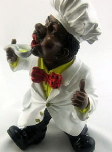 African American Chef Cook With Tasting Spoon Kitchen Art