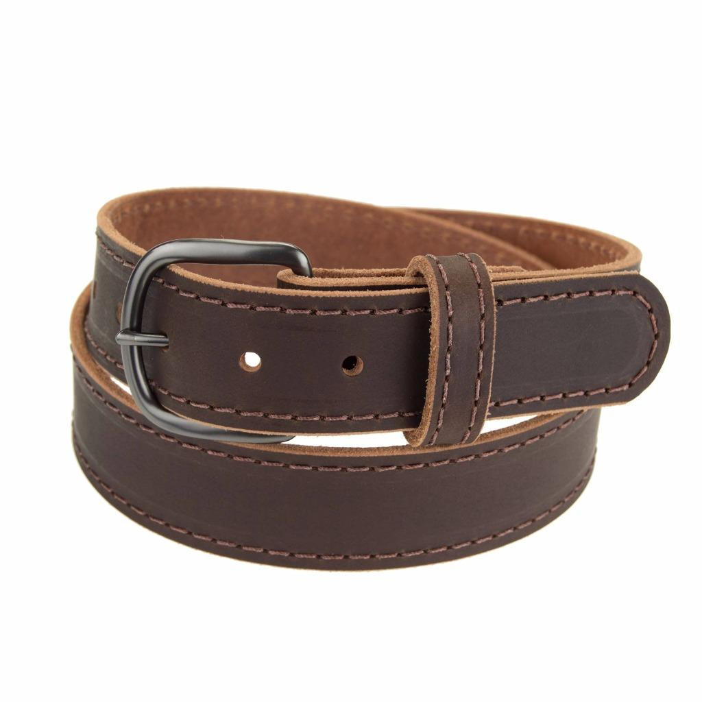 gm145 buffalo leather belt 1 1 2 quot wide stitched gun metal