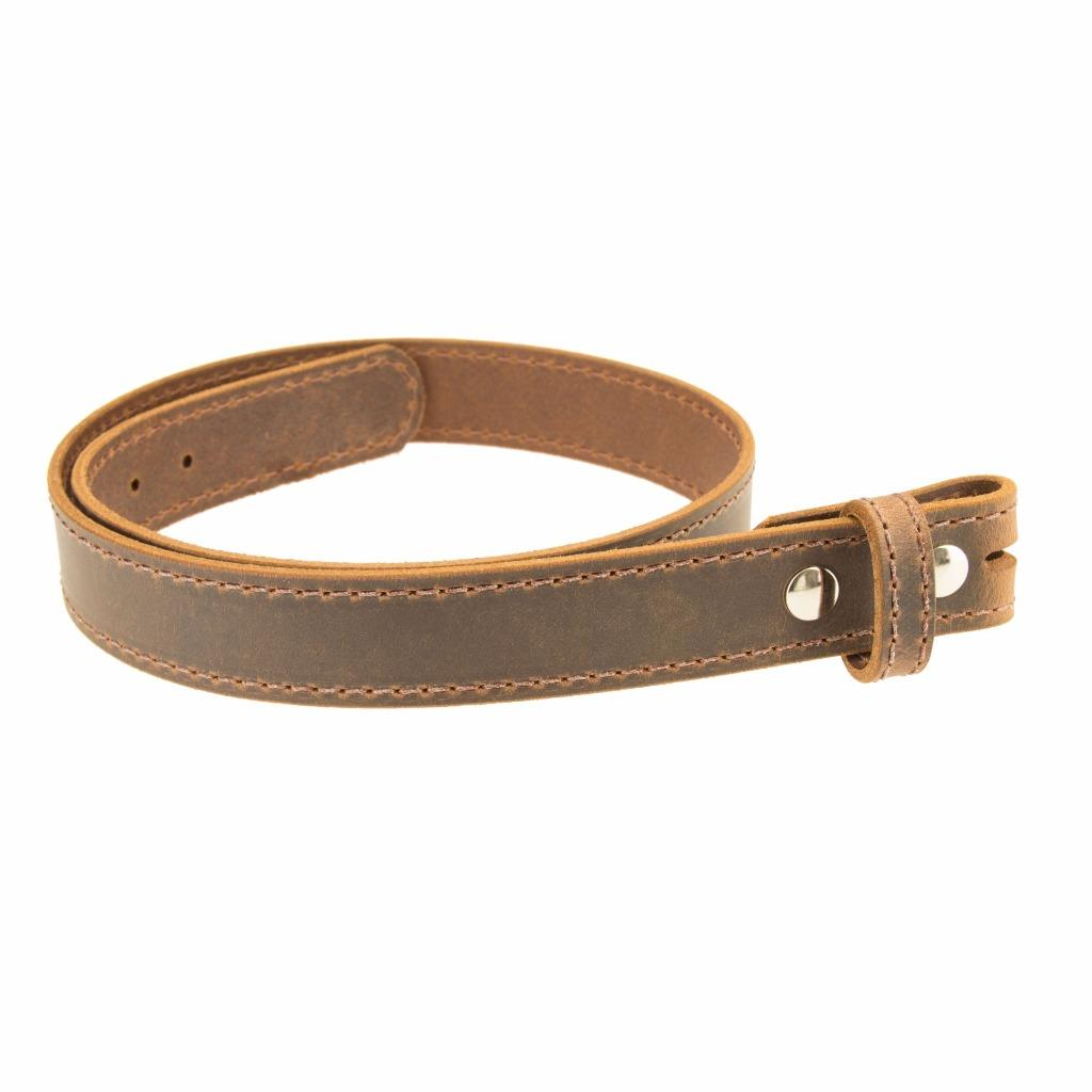 buffalo leather stitched belt strap no buckle 1 1 2 quot crazy