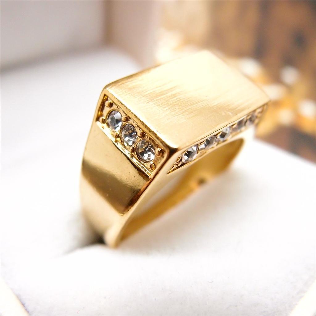 men jewelry hip hop 14k yellow gold filled crystal men 39 s. Black Bedroom Furniture Sets. Home Design Ideas