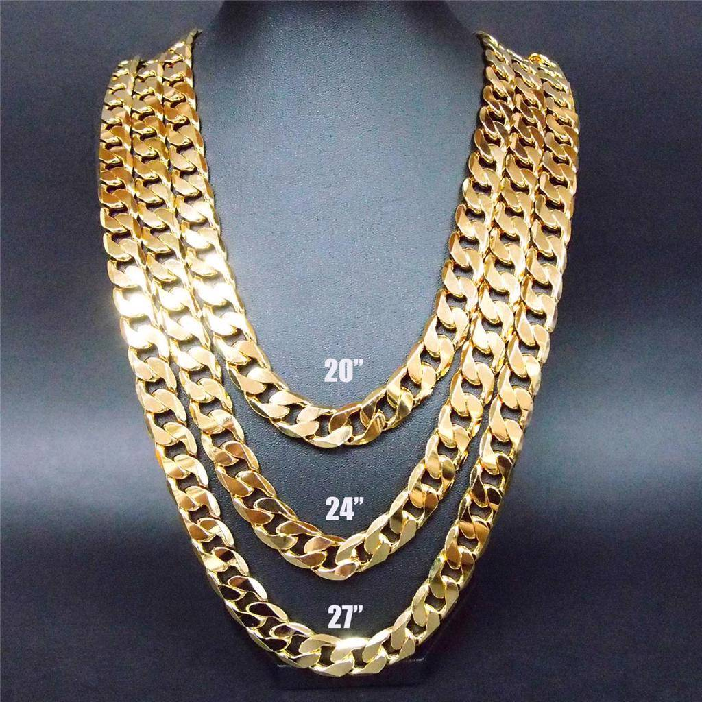 24 27 30 12mm 24k yellow gold filled chain link necklace for Gold filled jewelry