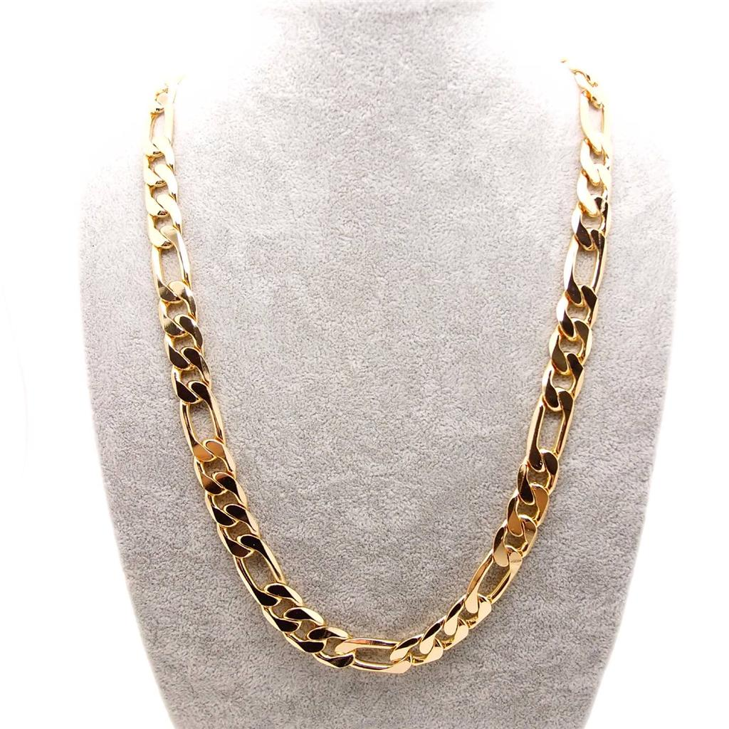 """20""""/24""""/27"""" Figaro 12mm Wide 18k yellow gold filled Link Chain Curb Necklace"""