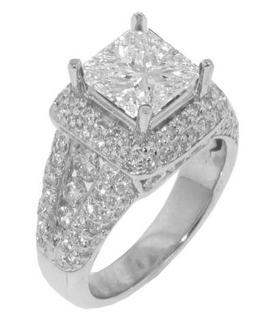 LOOK 5.04CT WOMEN'S PRINCESS CUT DIAMOND ENGAGEMENT RING 14K W/G