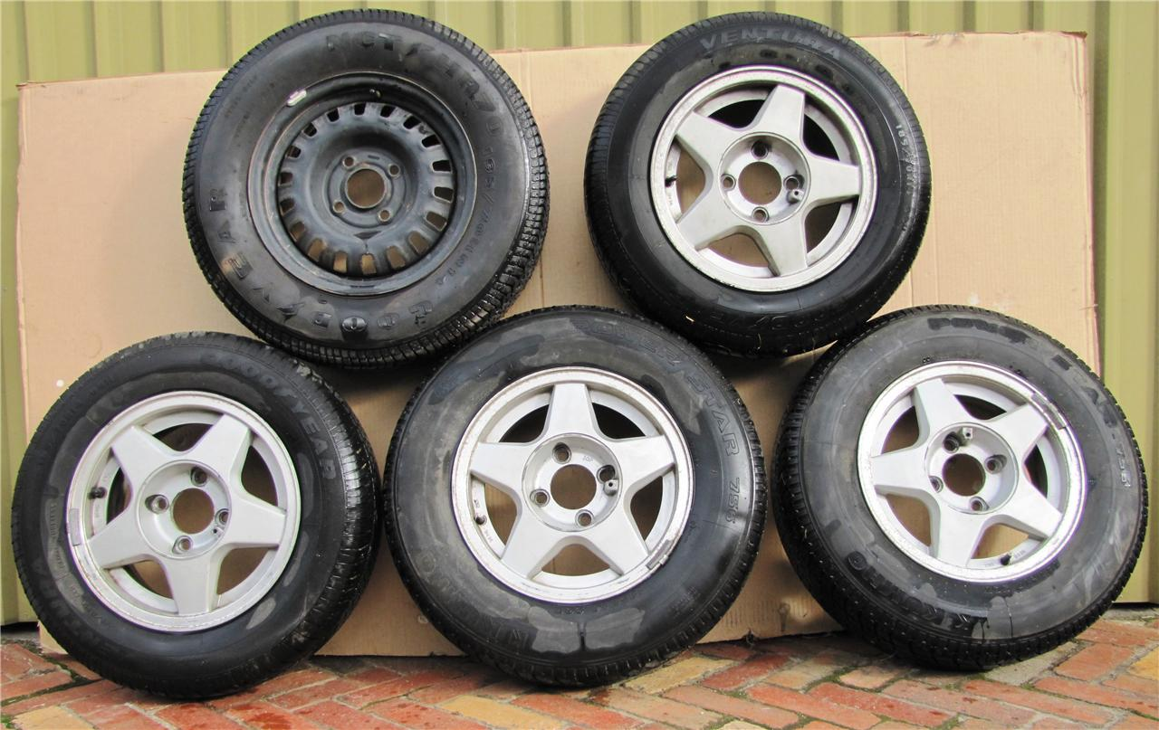 Nissan-Skyline-R31-Wheels-4-X-Alloy-1-X-steel-14-4-stud-1986-to-1991