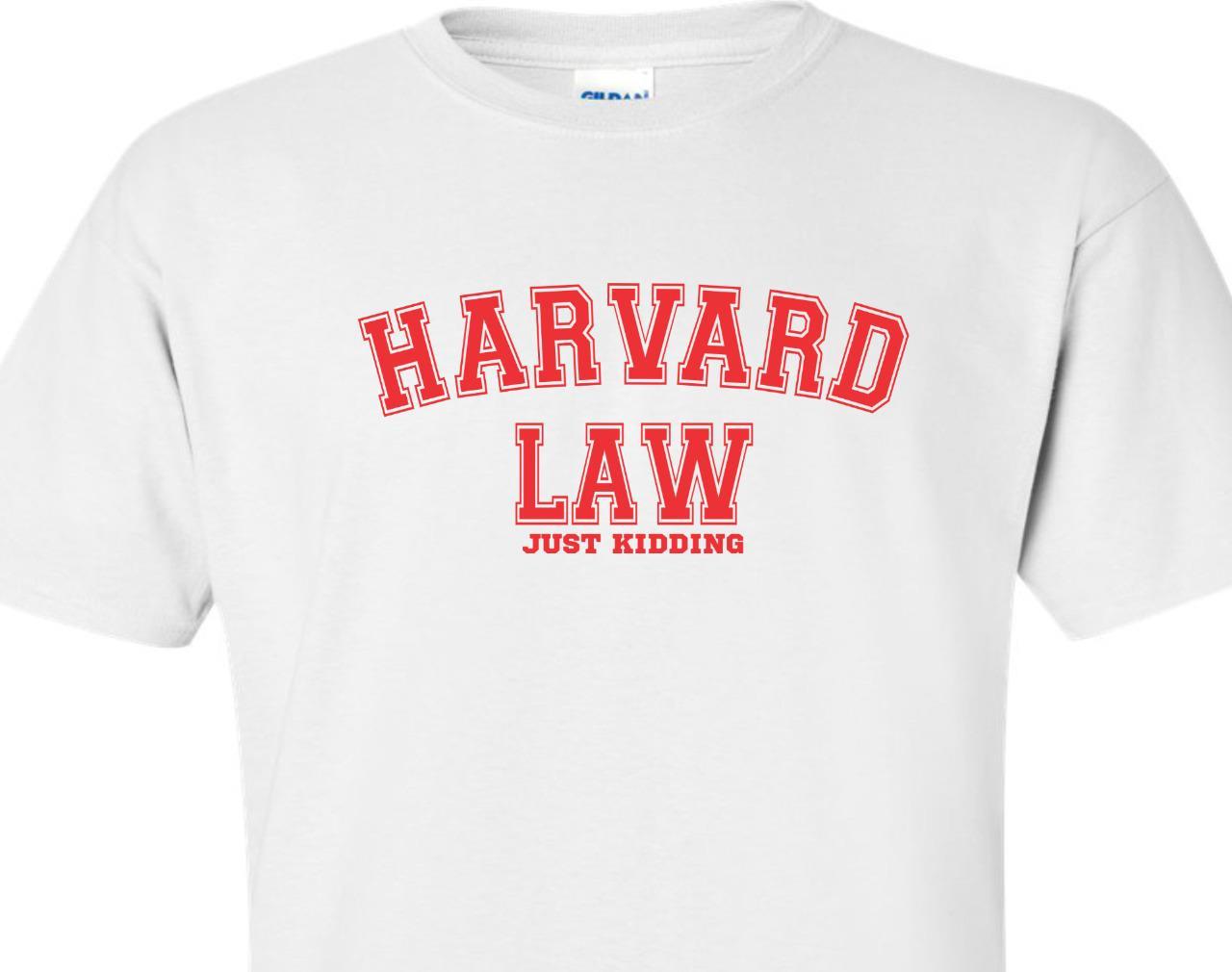 Harvard law just kidding tee shirt funny humor band nerd for Frat pocket t shirts