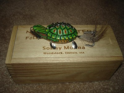 folk art handmade turtle fishing lure decoy in box ebay