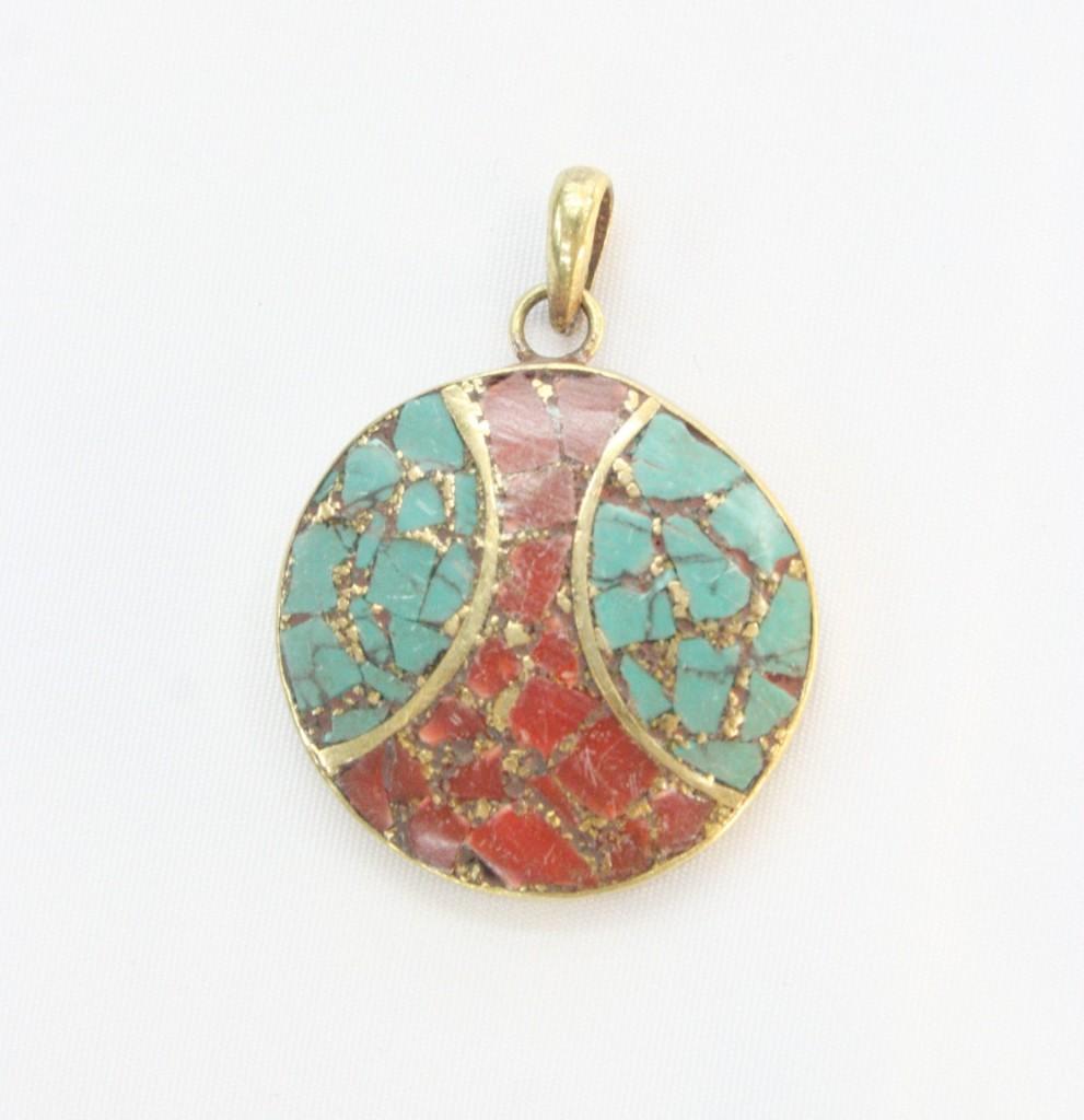 moroccan round turquoise stone and alpaca pendant