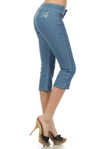 Ling Jeans USA Embroidered Band Capri Jeans