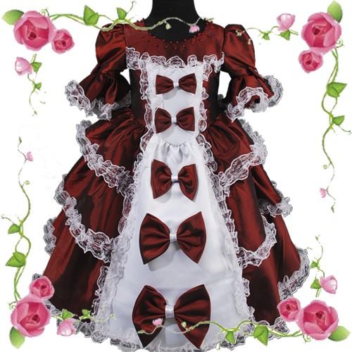 D245-Rotwein-Prinzessin-Blumenmaedchen-Kommunion-kleid-Festliches-Festkleid
