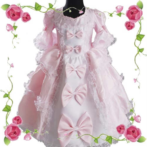 D246-Rosa-Prinzessin-Blumenmaedchen-Kommunion-Kleid-Abendkleid-Hochzeit