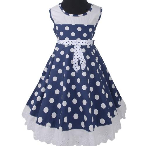 Blau-Rot-weiss-Polka-Punkte-Dots-Blume-Sommer-Maedchen-kleid-Abendkleid-104-152