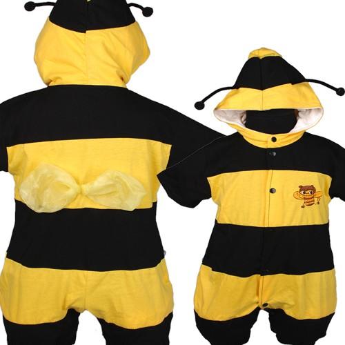 D266-Baby-Kleinkind-Outfits-Netter-Schwarz-Gelb-Bee-Soft-Einteilig-Strampler