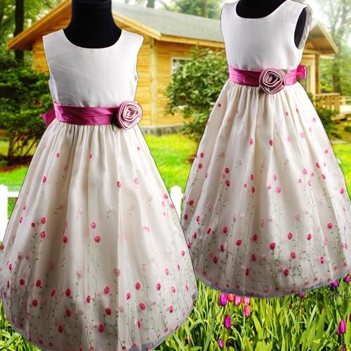 R287-Elfenbein-Kinder-Blumenmaedchen-Kleid-Gestickte-Hochzeit-Partei-Festkleid-u