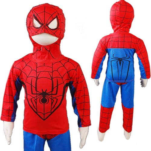 R304-Blau-Rot-Kinder-Jungen-Spiderman-Kostuem-Karneval-Outfits-spidey-cartoon-neu