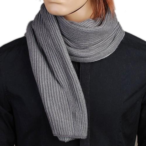 Hj2005 new mode herren grau stricken schal scarf lange for Herren schal stricken