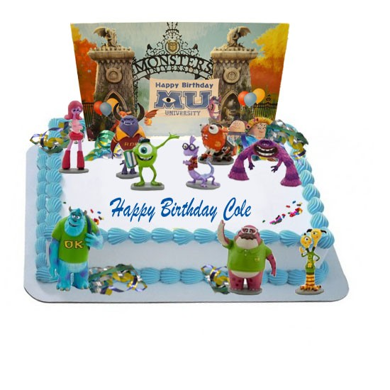 Cake Decoration Figures : Monsters University Party Cake Decorating Kit - 10 Figurines, 1 Backdrop Scene