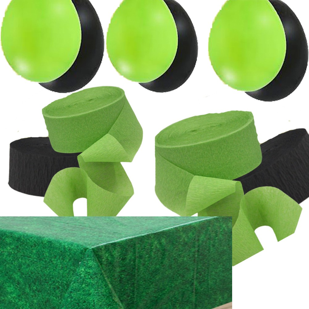 2-Green-2-Black-Streamers-24-Balloons-Green-Grass-Table-Cover-Minecraft-Party