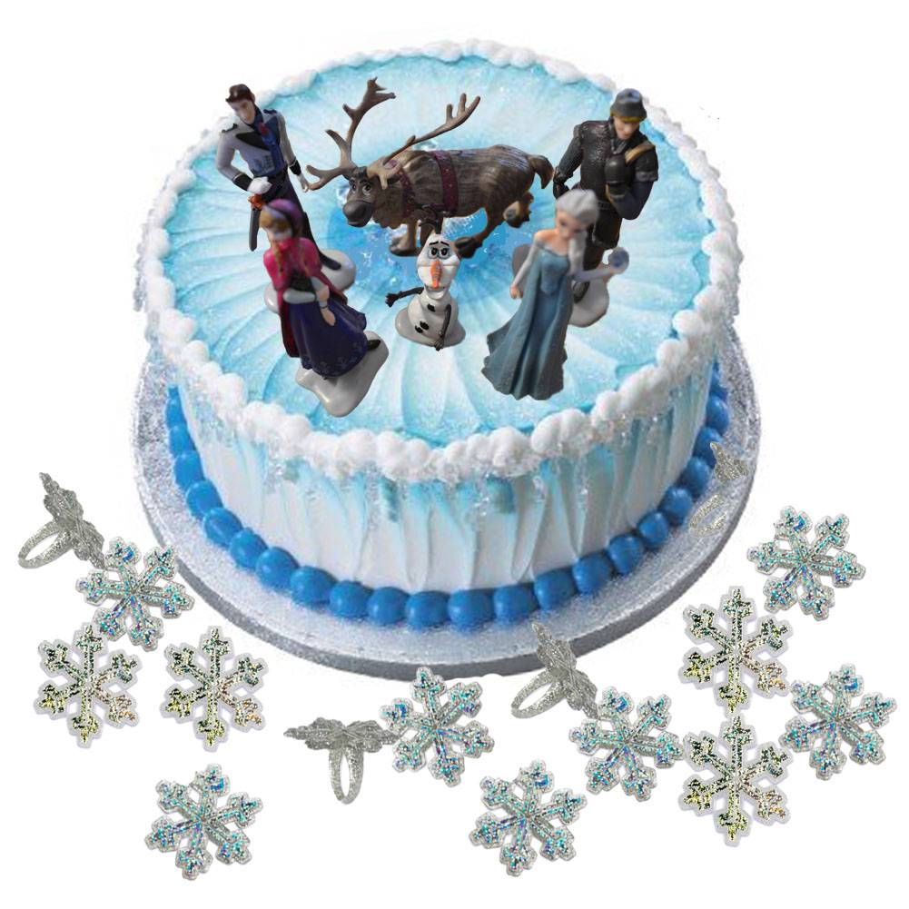 Disney Frozen Figure Cake Decoration Set & Snowflake Rings