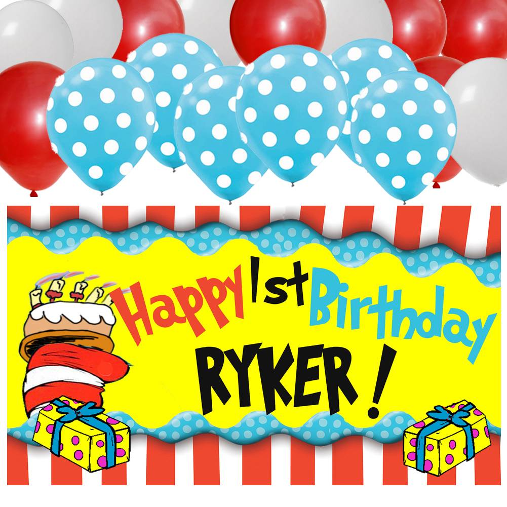 Dr Seuss Personalized Birthday Banner & 30 Balloon Kit