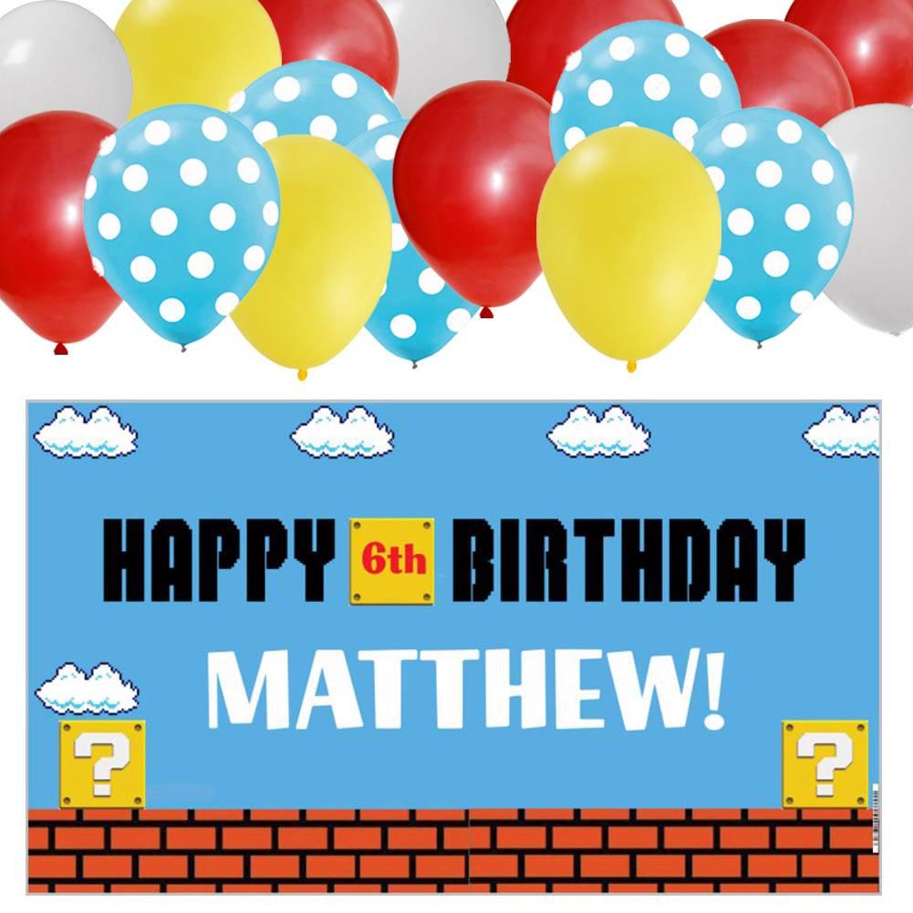 Personalized Vinyl Birthday Banner & 30 Balloons- Super