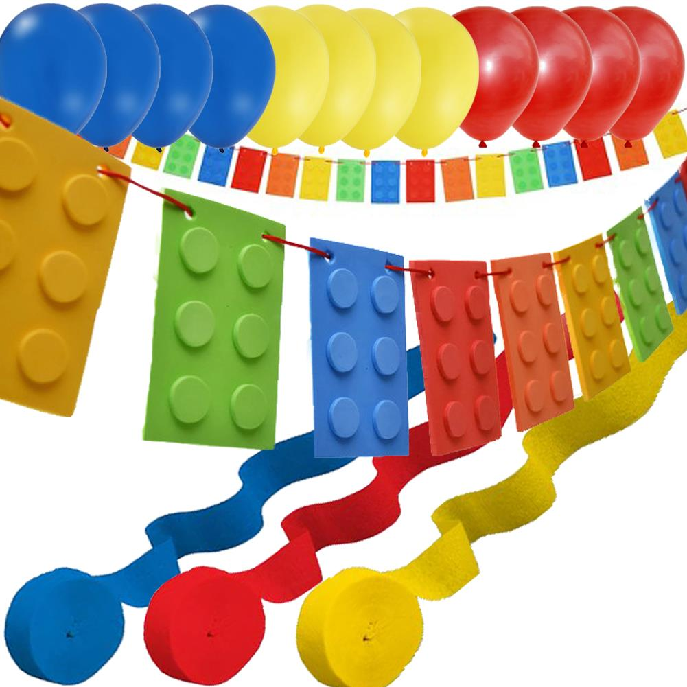 Brick party banner 12 balloons 3 streamers lego for Balloon banner decoration