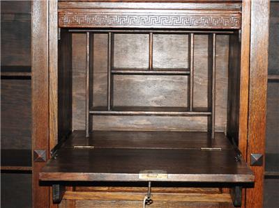 Antique vintage art deco oak bookcase secretaire bureau - Bureau secretaire vintage ...