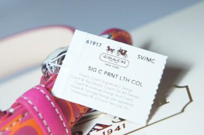New Coach Pink Orange Signature Printed Leather Dog Collar Bone Charm Size s L
