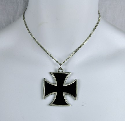 large black iron cross necklace wwii metal