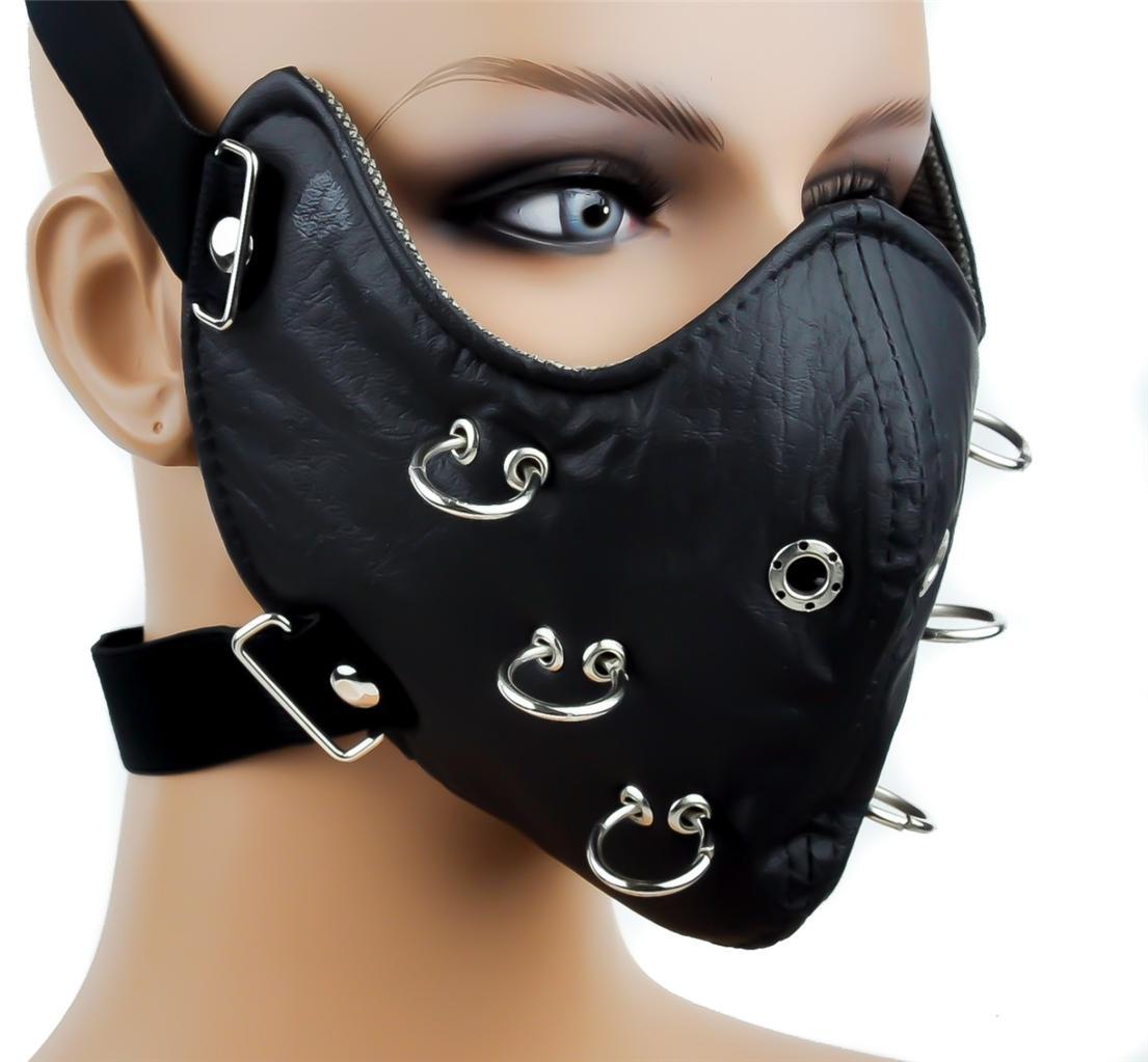 Bitches leather bondage face head mask pundai