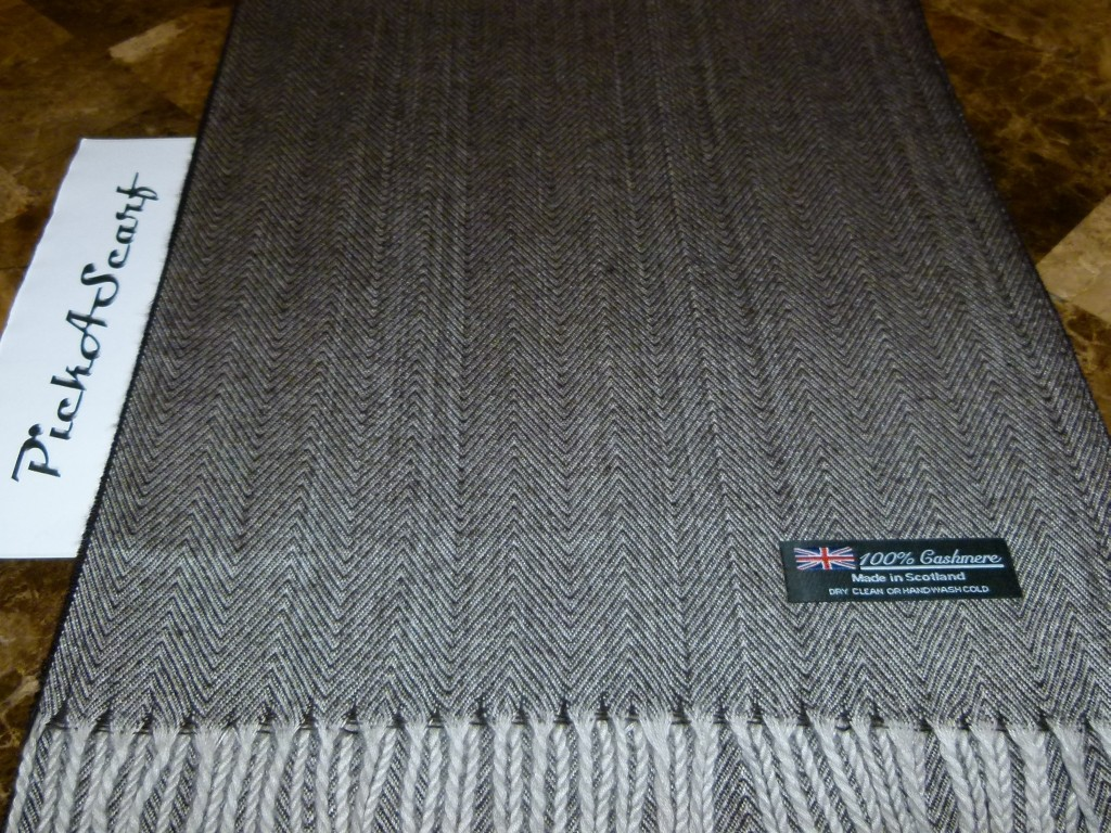 100-CASHMERE-Brown-Gray-Check-HerringBone-Tweed-Plaid-Scarf-Made-in-SCOTLAND
