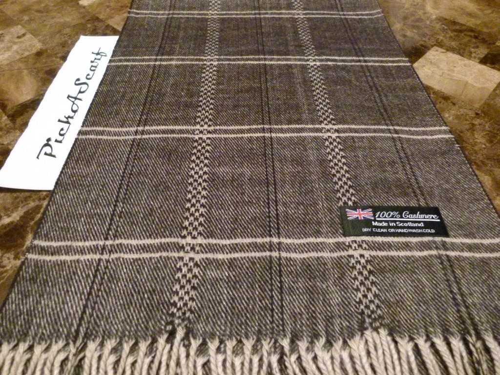 100-CASHMERE-Black-Gray-Check-HerringBone-Tweed-Plaid-Scarf-Made-in-SCOTLAND
