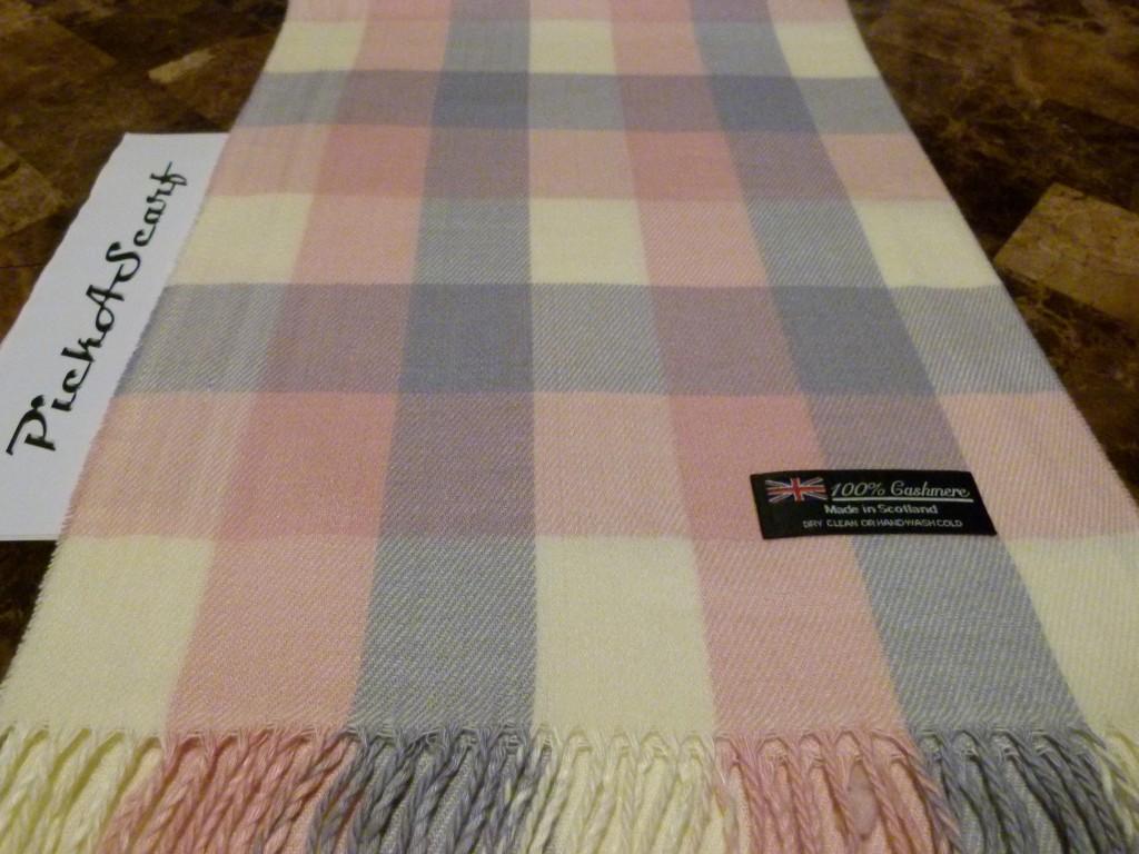 New-CASHMERE-Scarf-Gray-White-Black-Unisex-Check-Plaid-SCOTLAND-Wool-2ply-Warm