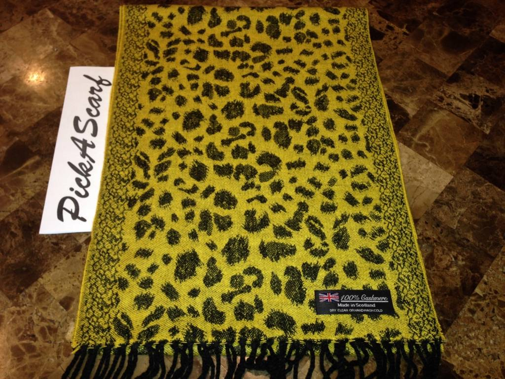 100 cashmere scarf yellow black leopard plaid warm scotland loop wool wrap b59 ebay. Black Bedroom Furniture Sets. Home Design Ideas