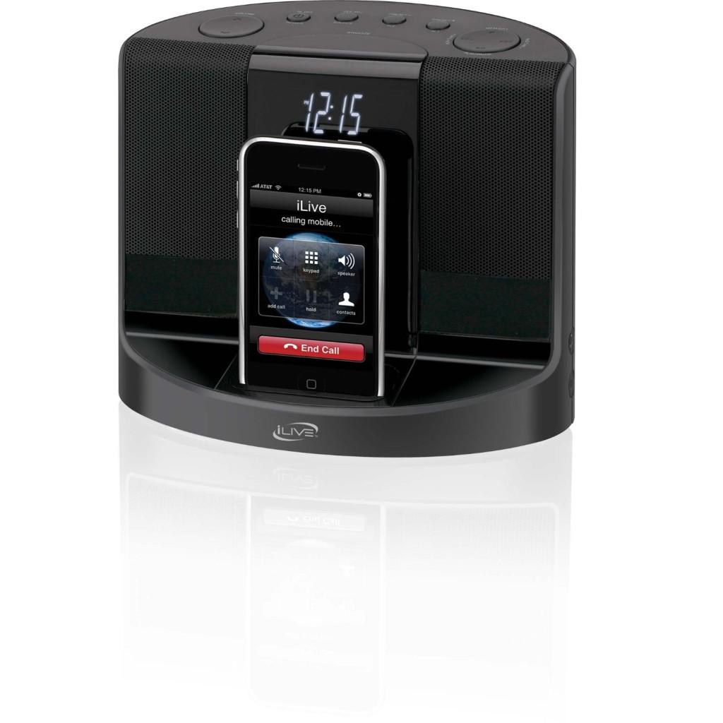 ilive iphone 4 ipod dock charger dual alarm clock am fm radio speaker backlight ebay. Black Bedroom Furniture Sets. Home Design Ideas