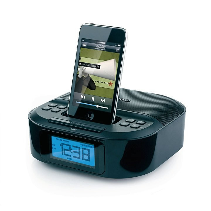 memorex ipod iphone compact charger speaker dock alarm clock fm radio w remote ebay. Black Bedroom Furniture Sets. Home Design Ideas